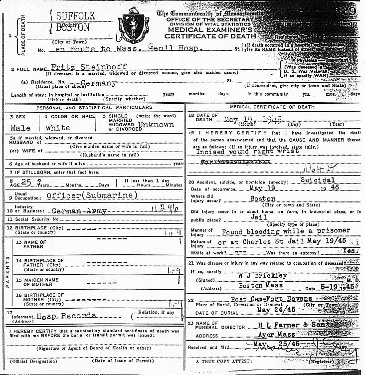 U Boat Archive U 873 Steinhoff Death Certificate